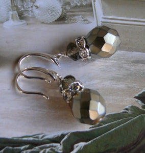 Golden Hematite and Swarovski crystal bead silver-toned drop earrings