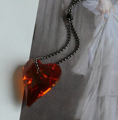 Red Swarovski crystal heart pendant and long ball chain necklace