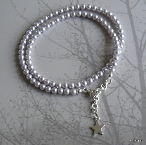 Lavender Faire Swarovski crystal pearl beads double wrap bracelet with sterling silver clasp
