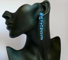Load image into Gallery viewer, Blue lapis cascading bead stud earrings