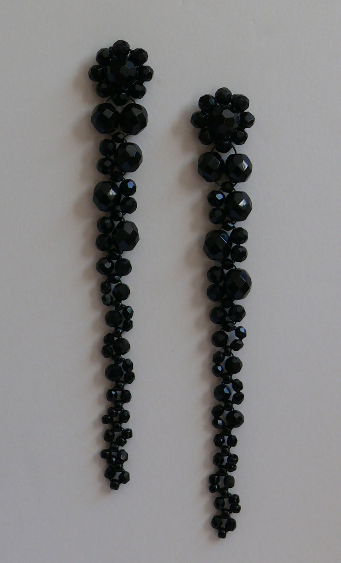 Black long cascading beaded statement stud earrings