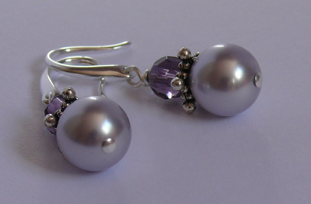 Lavender Swarovski crystal pearl silver-tone drop earrings
