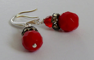 Red glass and Swarovski crystal silver-tone drop earrings