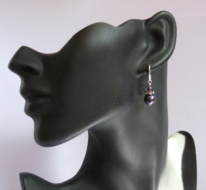 Purple/lilac dark pearl silver-tone drop earrings