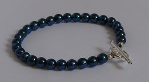 Blue velvet pearls bracelet with sterling silver filled toggle clasp