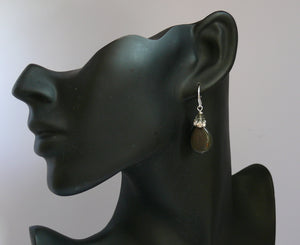 Rainbow Obsidian (natural) teardrop silver-tone earrings
