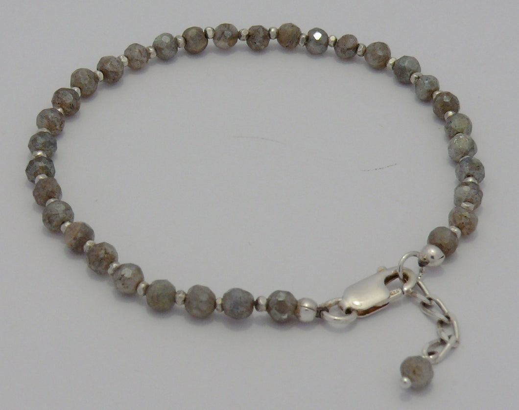 Labradorite gemstone bracelet with sterling silver clasp