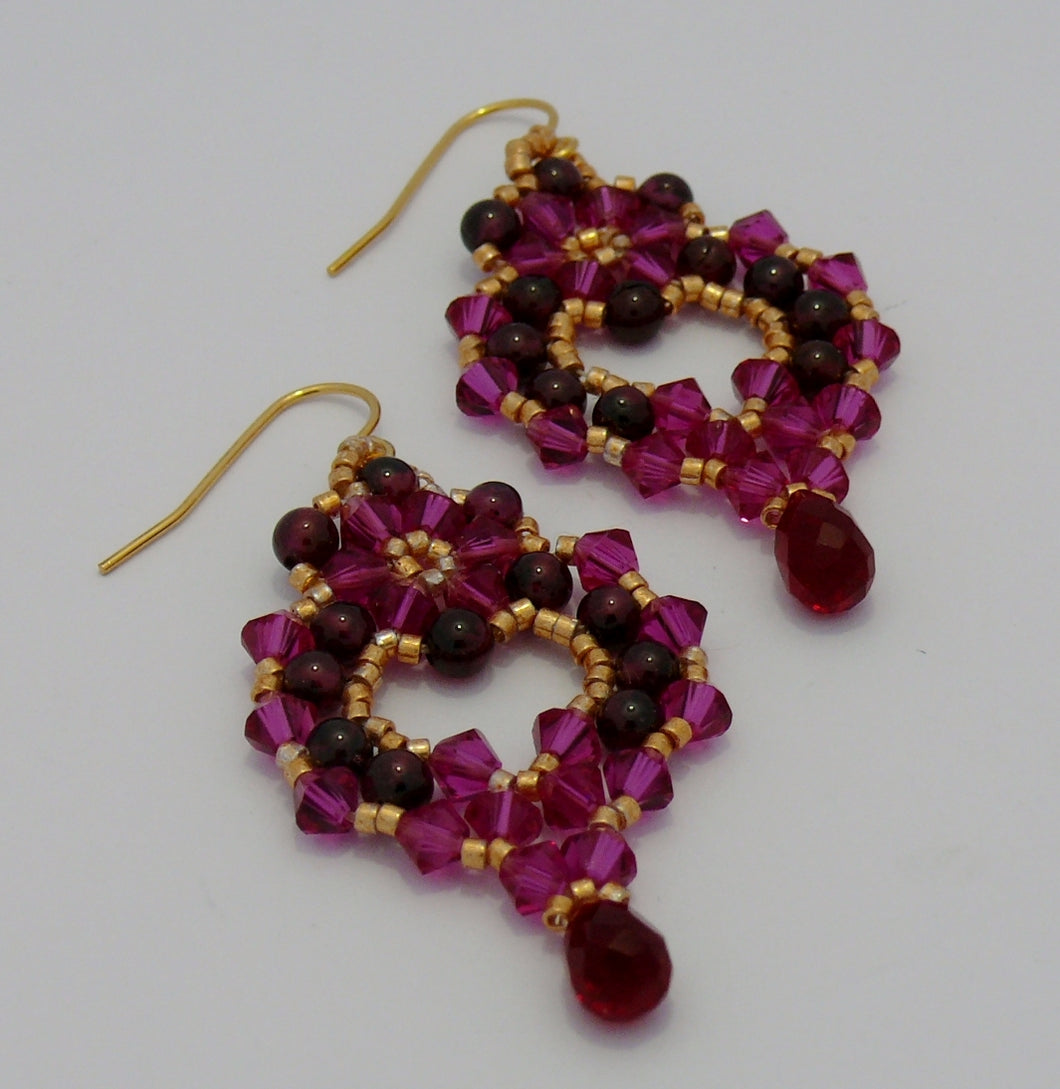Regal red garnet and Swarovski crystal chandelier gold-tone drop earrings Bridesmaids