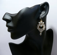 Load image into Gallery viewer, Regal crystal clear and pearl chandelier gold-tone drop earrings Bride