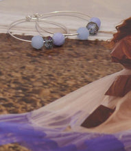 Load image into Gallery viewer, Blue sky faceted bead sterling silver hoop earrings and bracelet SET