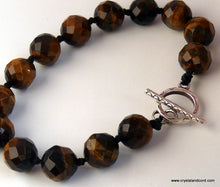 Load image into Gallery viewer, Tigereye natural gemstone beads hand knotted sterling silver bracelet