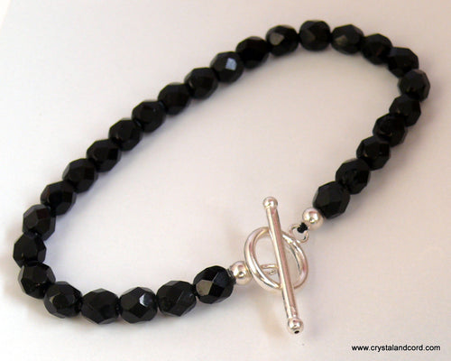 Black glass beads bracelet with sterling silver clasp
