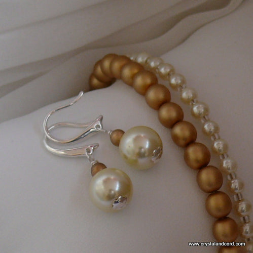 Cream and gold glass bead pearl drop earrings and bracelets set