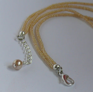 Cream bronze glass bead pearls and seed beads long necklaces