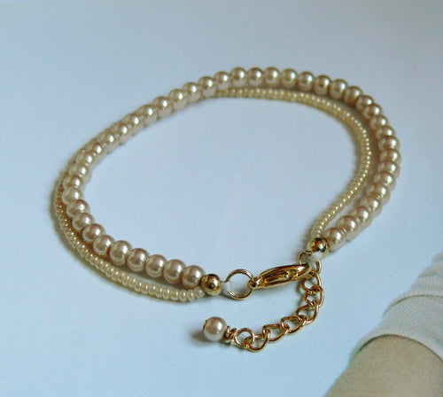 Cream bronze glass bead pearls two strand bracelet