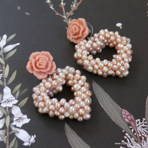 Coral blush heart drop flower stud earrings
