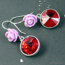 Load image into Gallery viewer, Swarovski crystal rhinestones and flower drop silver-tone earrings