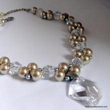 Load image into Gallery viewer, Platinum/Beige glass bead pearls and Swarovski crystal drop necklace