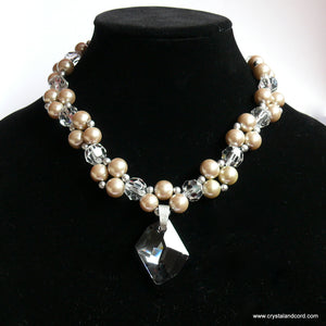Platinum/Beige glass bead pearls and Swarovski crystal drop necklace