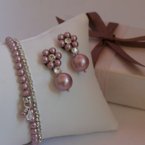 Rhinestone and powder rose Swarovski crystal pearls drop earrings and bracelets set