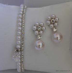 Rhinestone and white Swarovski crystal pearls drop earrings and bracelets wedding set