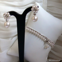 Load image into Gallery viewer, Rhinestone and white Swarovski crystal pearls drop earrings and bracelets wedding set