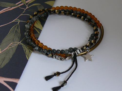 Stacked bracelet set with amber, metalic gold and Labradorite beads
