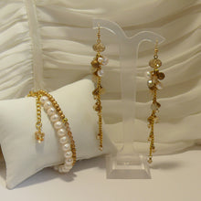 Load image into Gallery viewer, Golden shadow Swarovski crystal long cascading gold-tone earrings and bracelet SET