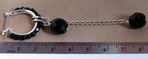 Black faceted glass bead 24mm hoop earrings and bead charms extension