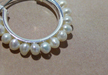 Load image into Gallery viewer, Freshwater pearls 25mm silver-tone or gold-tone hoop earrings