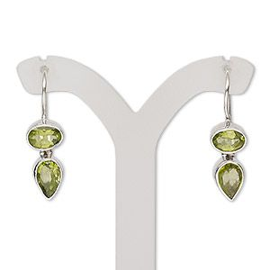 Peridot natural gemstones and sterling silver drop earrings