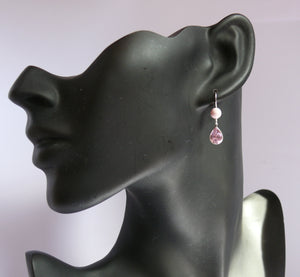 Pink pastel Swarovski crystal drop earrings