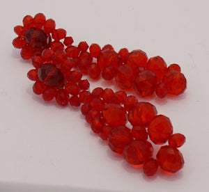 Red transparent faceted beads stud earrings