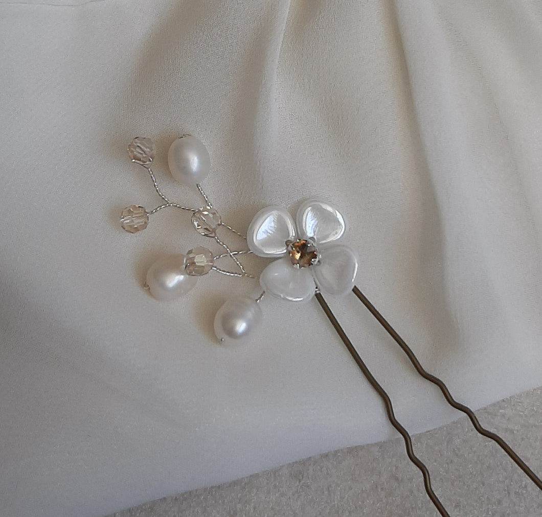 White and rhinestone center flower, freshwater pearls and crystal beads hair pin wedding