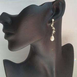 Swarovski crystal pear shaped pearl and sterling silver vine drop earrings