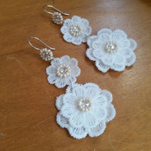 Load image into Gallery viewer, White lace flower drops and Swarovski crystal rhinestone earrings