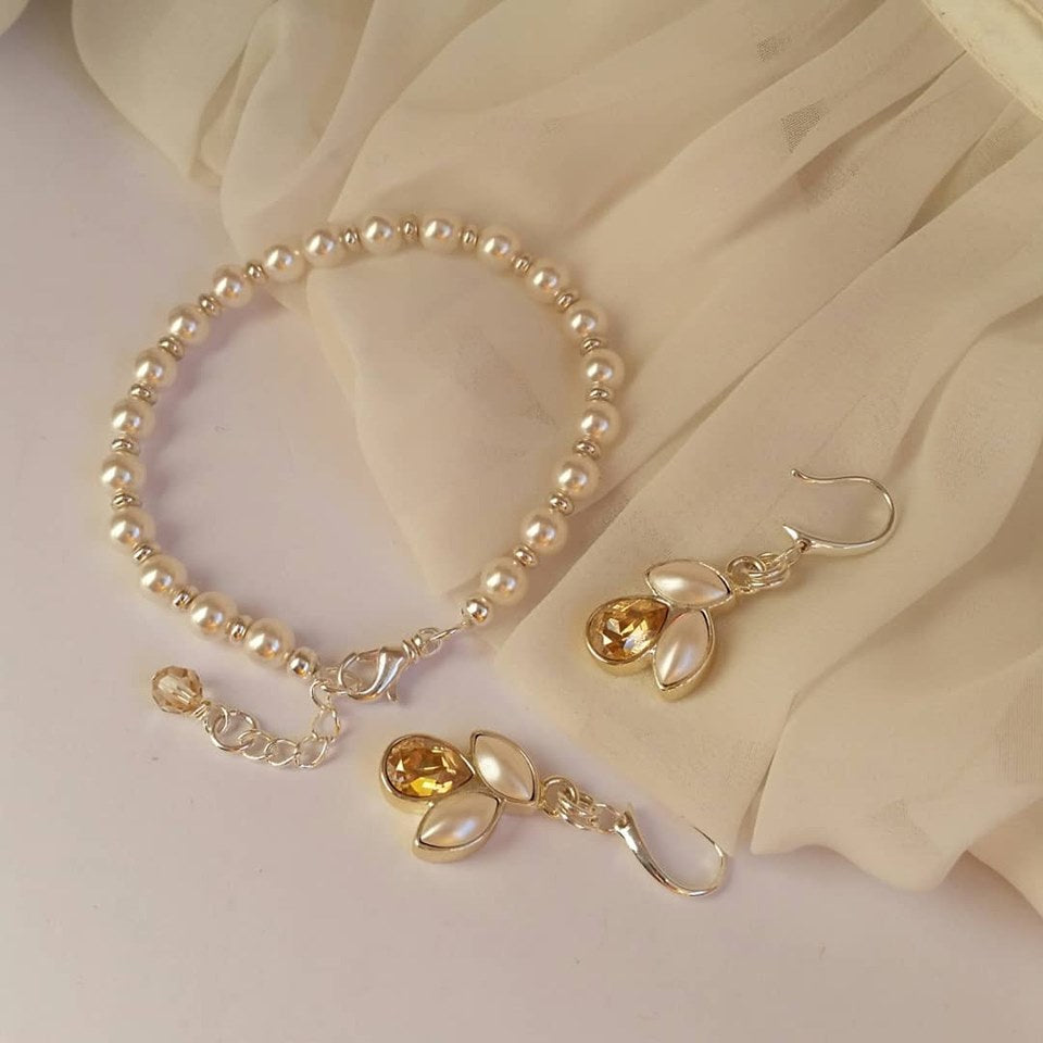 White Swarovski crystal pearls silver or gold tone earrings and bracelet SET