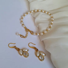 Load image into Gallery viewer, White Swarovski crystal pearls silver or gold tone earrings and bracelet SET