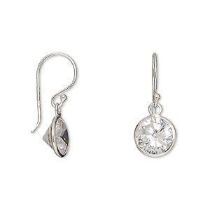 Crystal clear Cubic Zirconia and sterling silver drop earrings