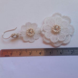 White lace flower drops and Swarovski crystal rhinestone earrings