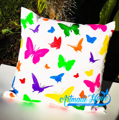 Butterfly Stencil Painted Pillow