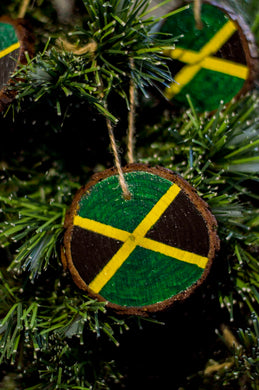 Hand Painted Jamaican Flag Wood Slice Ornaments Pack of 10