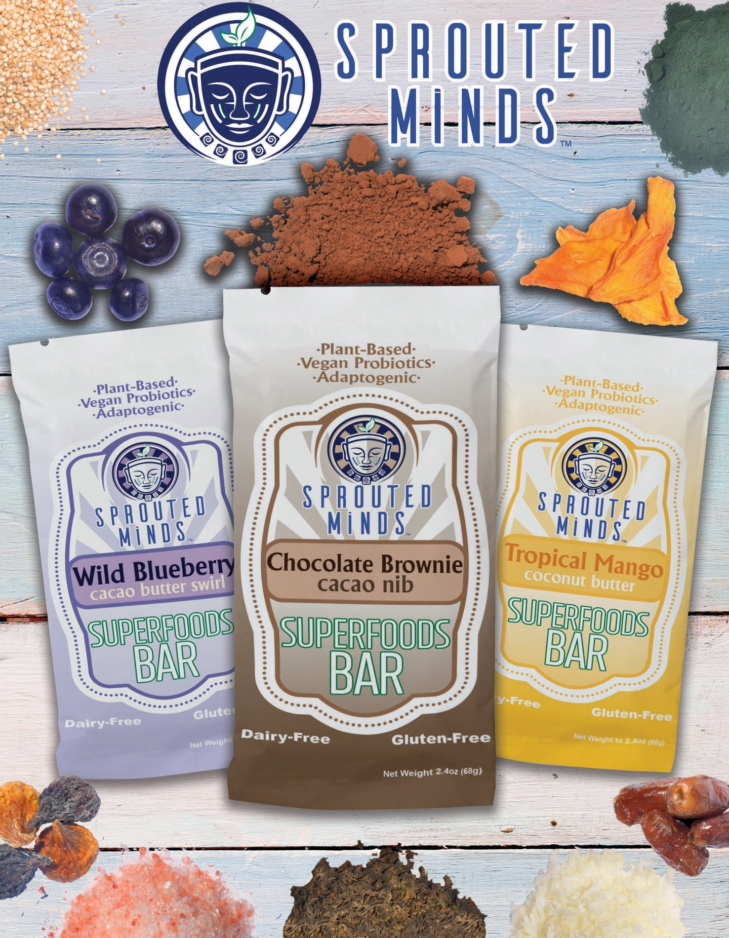 sprouted minds superfood bars adaptogens vegan probiotics