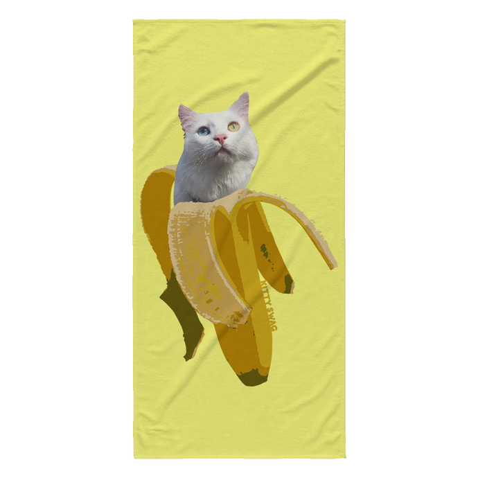 Banana Kitty Beach Towel - Kitty Swag Funny Cat T-shirts