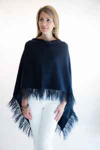 Navy Feather Poncho