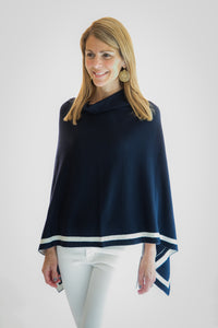 Navy with Off-White Stripe Poncho by navyBLEU
