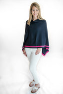 Navy with Hot Pink Stripe Poncho by navyBLEU