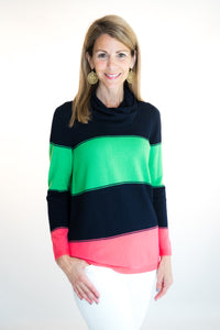 color block navy and green sweater