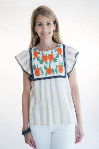 Stripe Embroidered Baby Doll Top