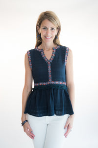 Peplum Navy Embroidered Sleeveless Top